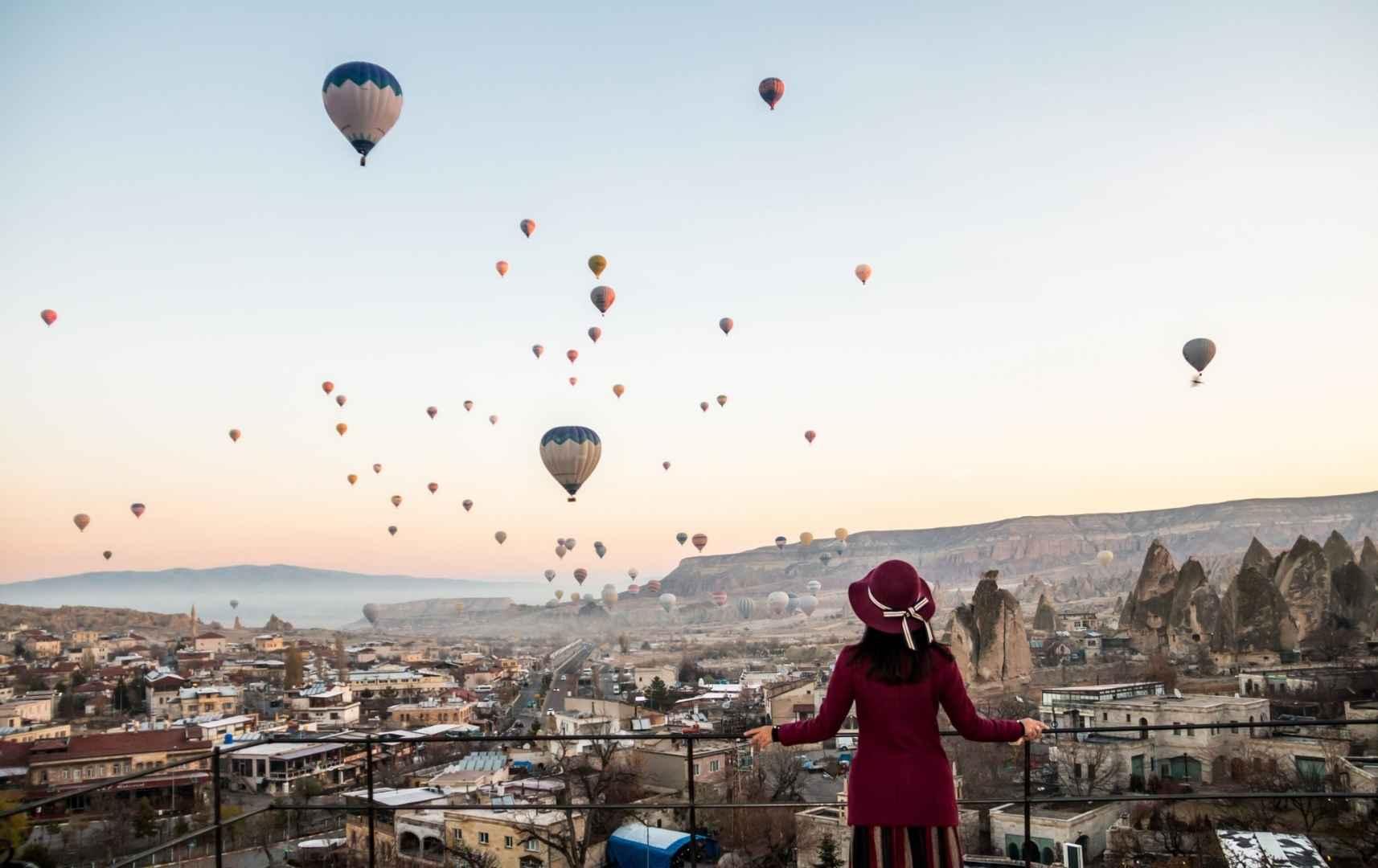Heißluftballons in Kapadokya, Türkei