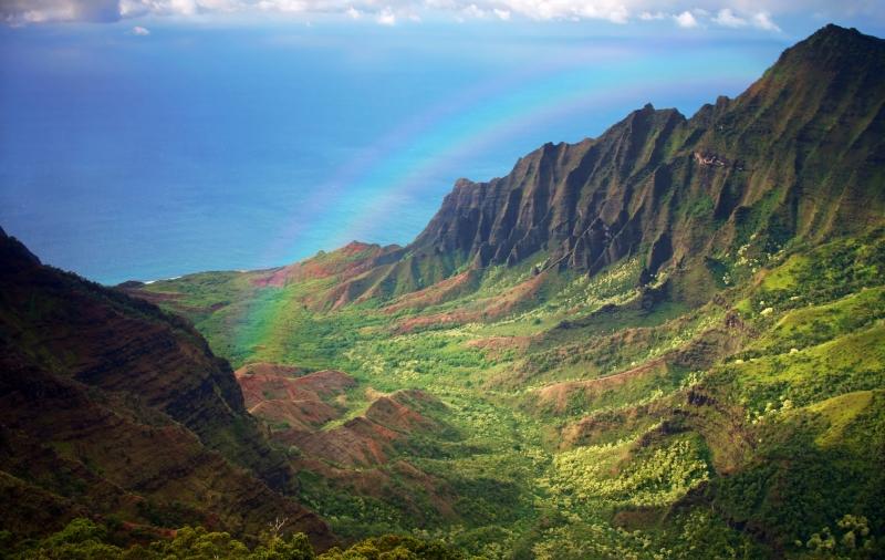 Hawaii Kauai Küste mit Regenbogen