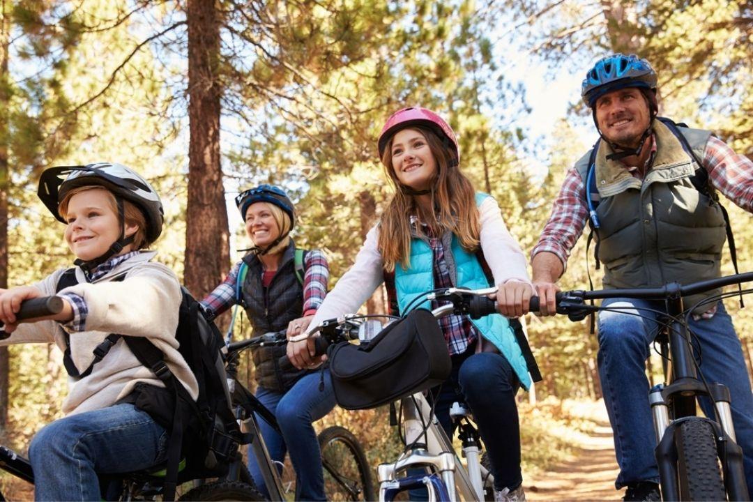Familie fährt mit Fahrrädern durch den Wald