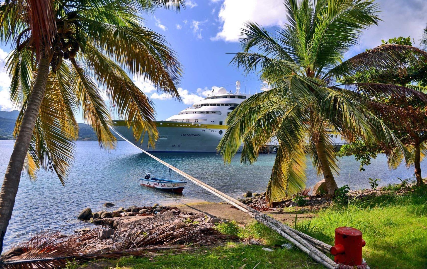 Insel mit Palmen und großes Schiff