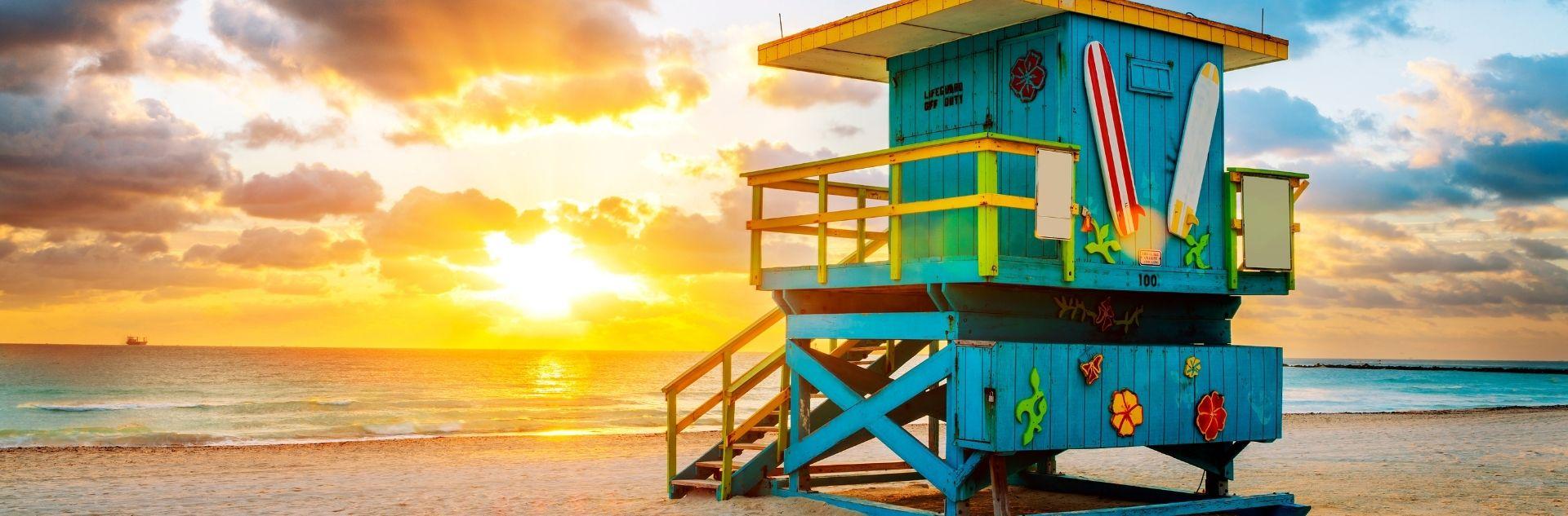 Florida, Strand mit Bademeisterhaus