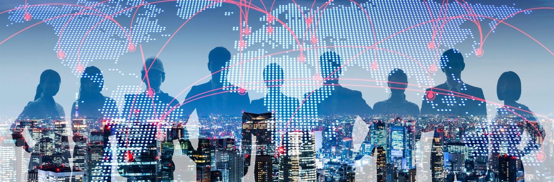 Business weltweit Geschäftsleute vor beleuchteter Skyline mit Verbindungen rund um den Globus
