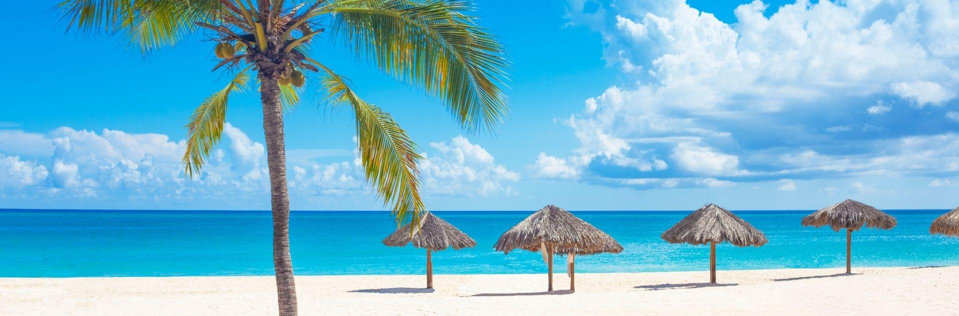 Curacao, Strand mit Palmen und Sonnenschirmen