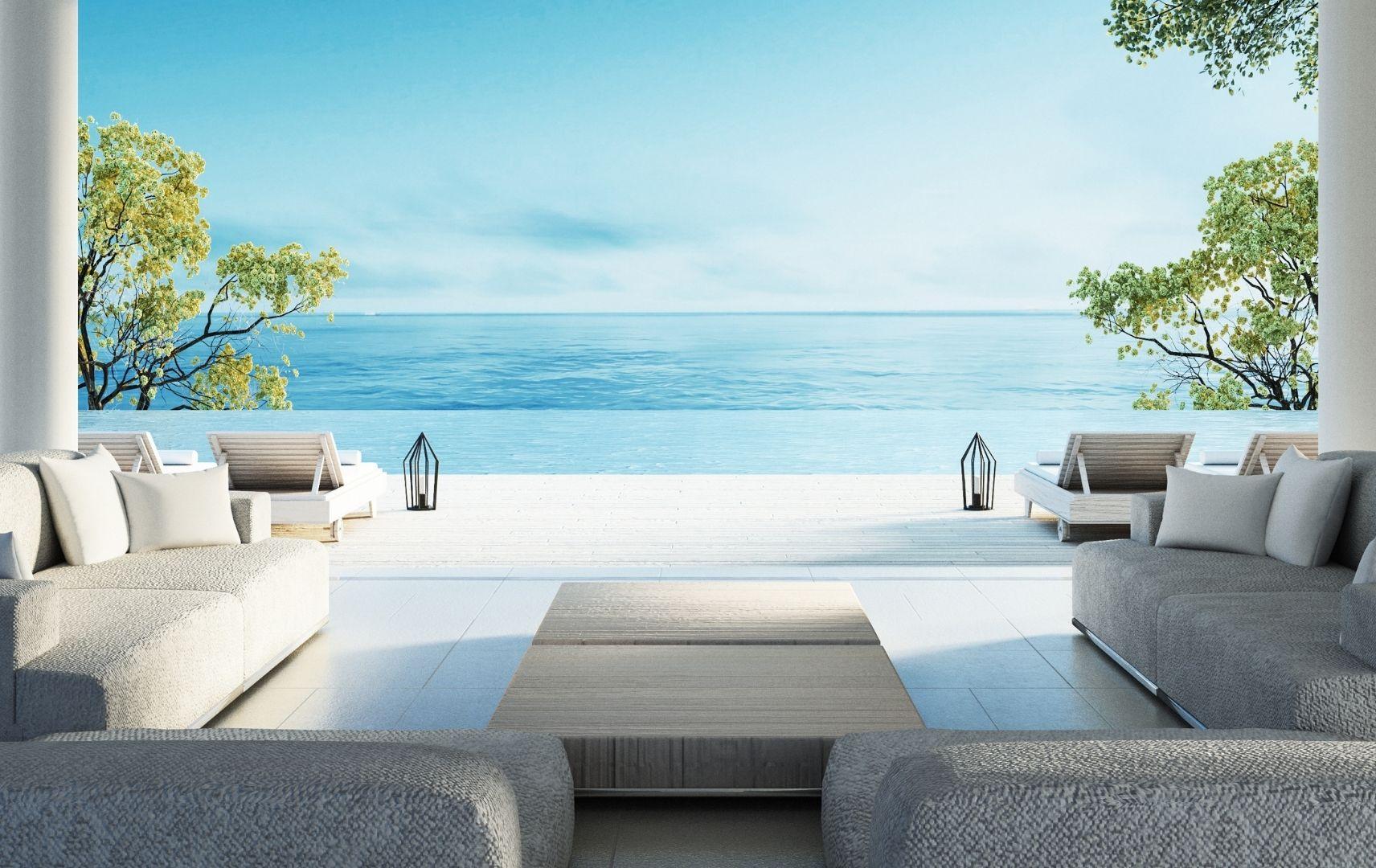 Luxushotel mit Blick auf Pool, Meer