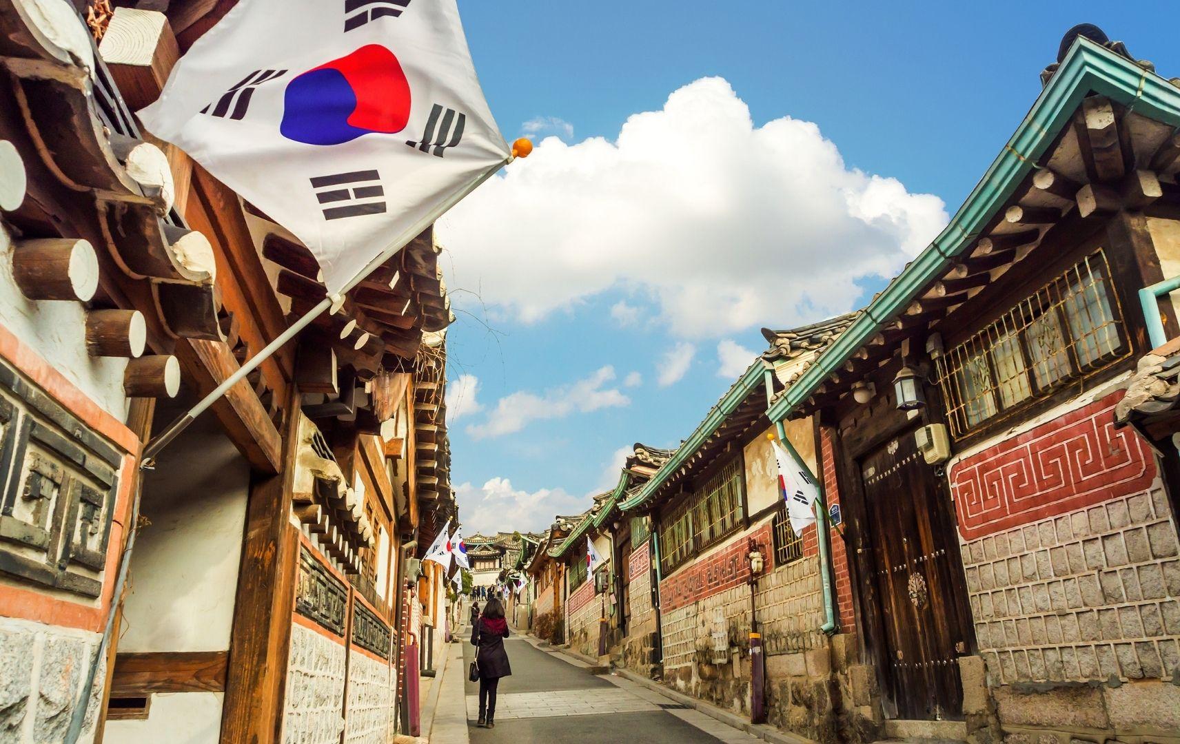 Bukchon Hanok Village and Seoul city skyline