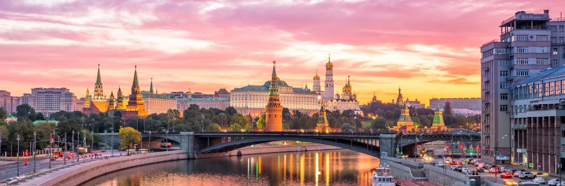 Moskau bei Abenddämmerung