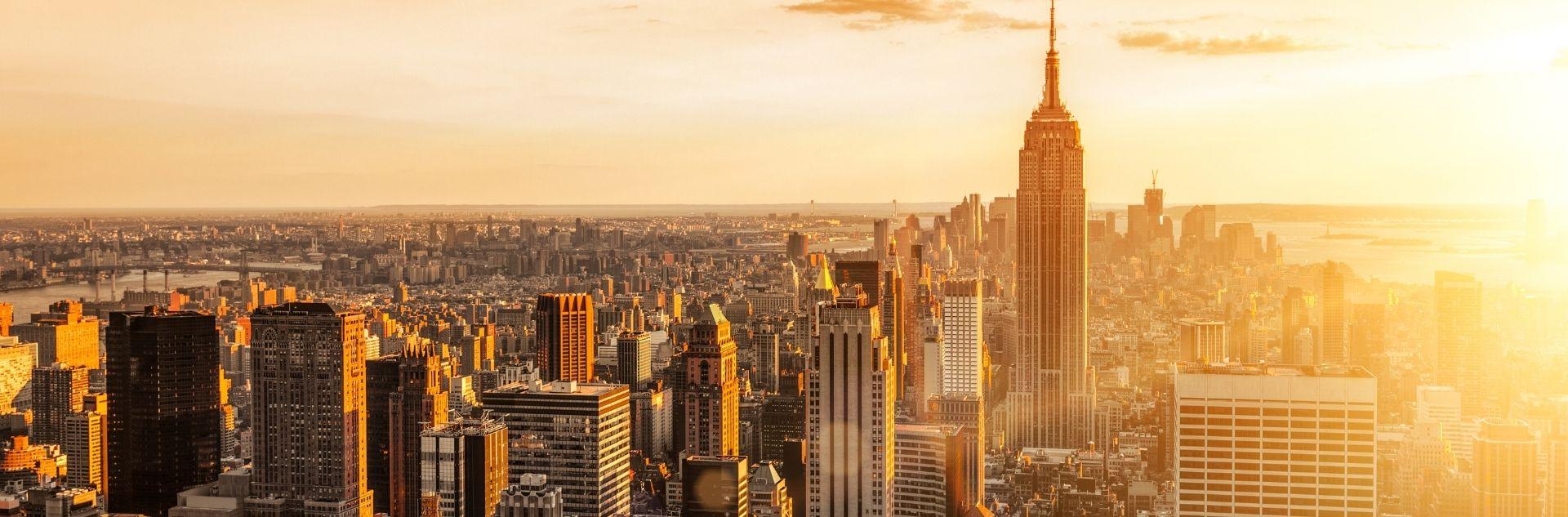New York Stadt bei Sonnenuntergang