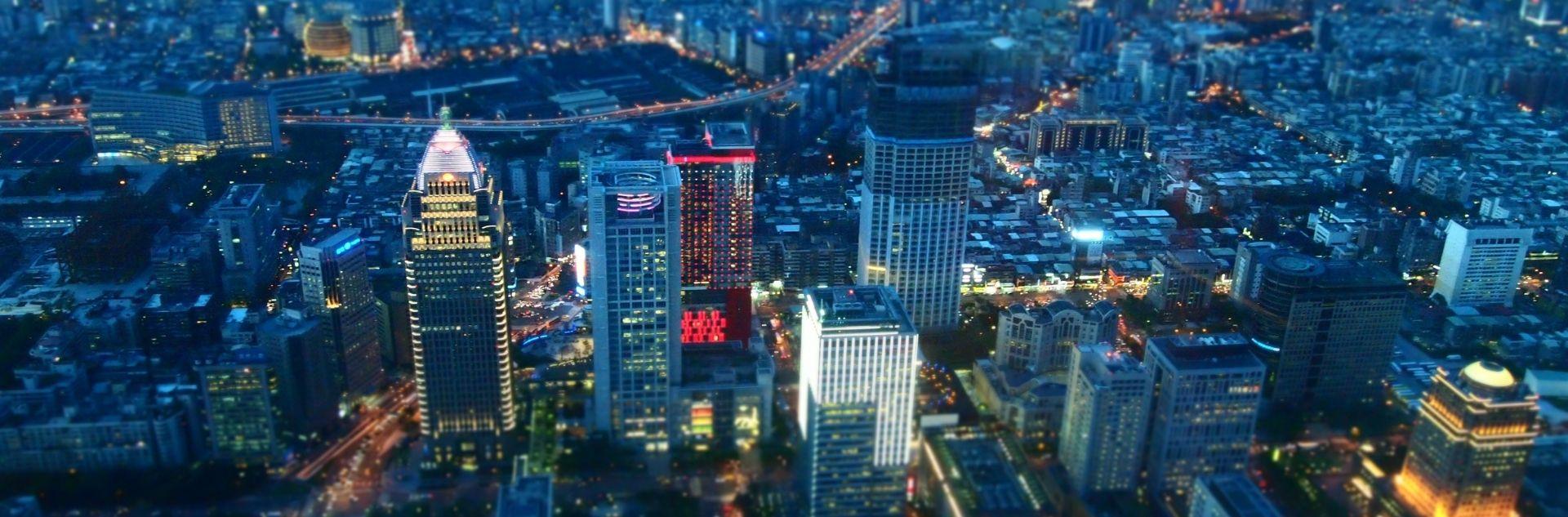 Blick auf Taipeh City bei Nacht