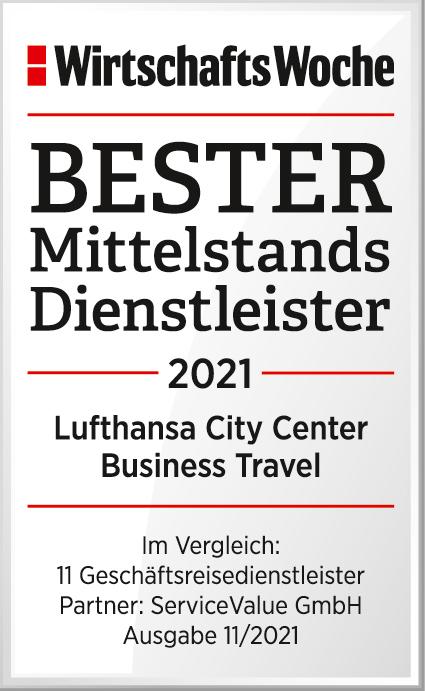 WiWo Siegel Bester Mittelstandsdienstleister Geschäftsreisen 2021