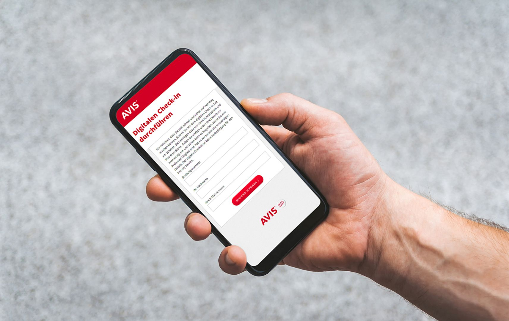 Avis Smartphone Screen Digitaler Check-in