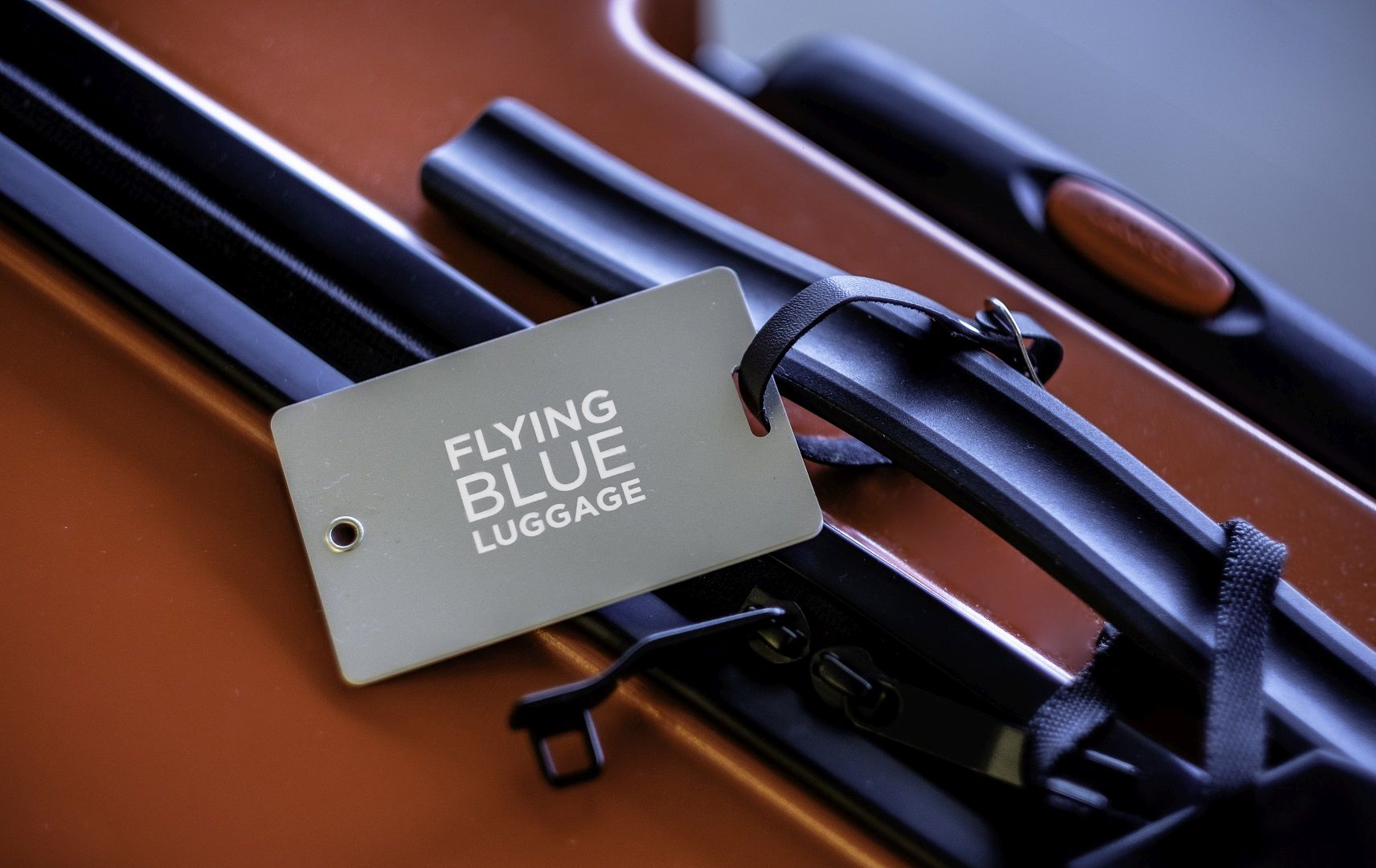 Koffer mit Flying Blue Anhänger