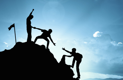 Team kletter Berg hoch