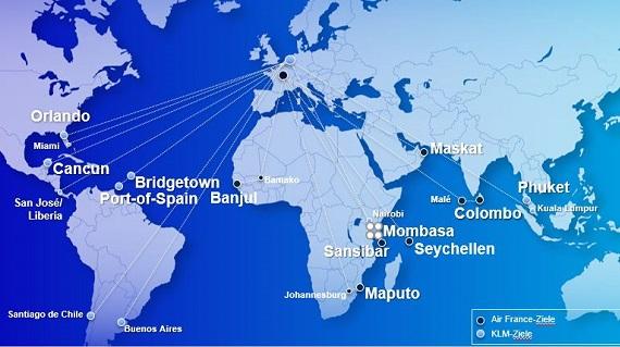 Karte mit Streckennetz von Air France und KLM im Winter 2021/22