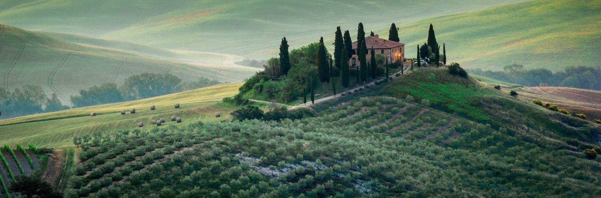 Weingut auf Hügel in der Toskana